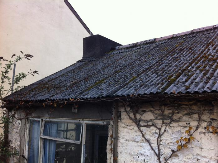 Old corregated asbestos roof