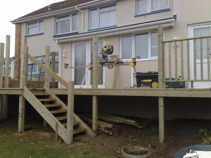 Raised decking area with stairs